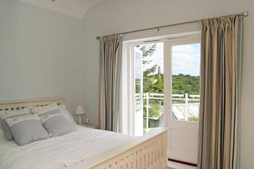 One of the several iconic engine houses in the area is visible from the double bedroom.