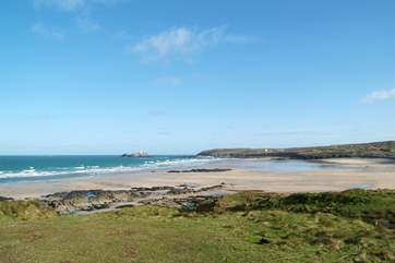 The fabulous beach at Gwithian, looking towards Godrevy lighthouse.