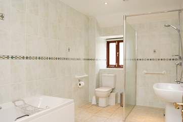 The bathroom with wet-room shower.