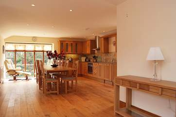 The kitchen and dining areas are extremely spacious.