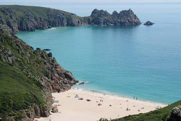 Porthcurno beach is approximately five miles away.