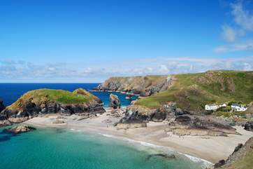 Spectacular Kynance Cove lies between Mullion and Lizard Point, an exhilarating walk away along the clifftop coastal path.