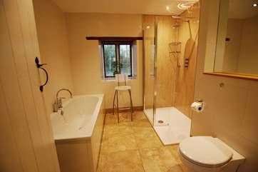 The bathroom has a luxury shower.