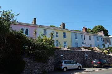 The terrace up above the road, Moon Cottage is the third in from the left. The car parking space is shown below (with the black car on the right).