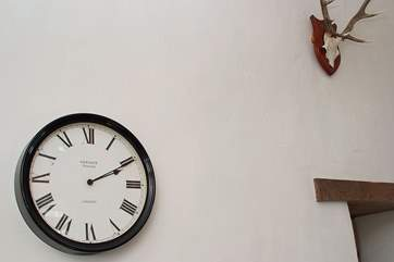 The interior of the barn is very spacious with high ceilings and ideal to display large clocks and antlers.