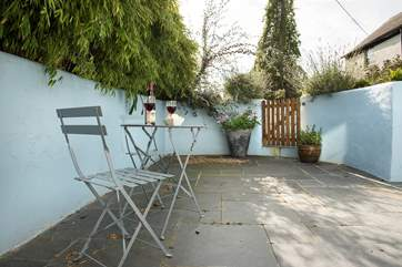The patio area at the back of Court Cottage