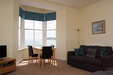 There are fabulous sea views from the sitting-area.