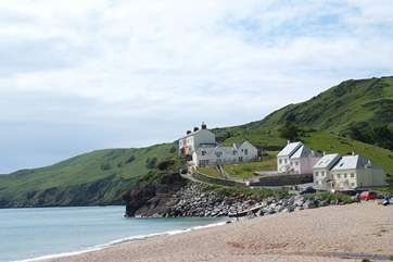 The property is set above Hallsands pebbled beach.