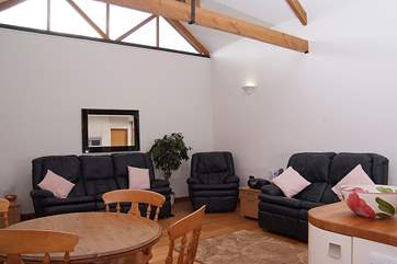 The sitting-area, with lovely big sofas, is at the far end of the open plan living space.
