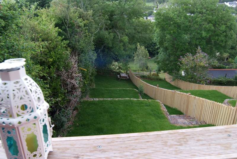 The terraced garden from the decked-area.