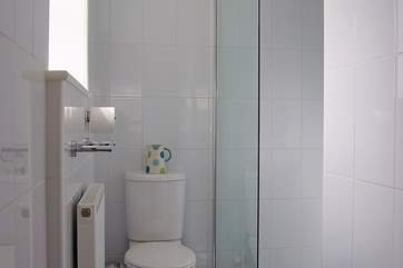 Apart from the shallow step up from the bedroom, the floor of the en suite wet-room is all on one level.
