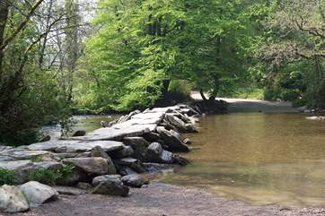 The ancient Tarr Steps just a few miles from Dulverton - an iconic Exmoor landmark.