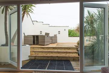 The decked terrace, accessed via the sitting-room.