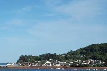 Shaldon village and beach at the mouth of the River Teign.