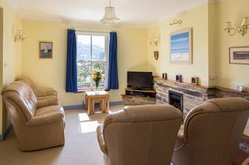 Light and airy living-area, which also has a wonderful view out across to the River Dart.
