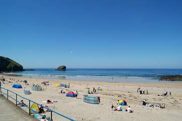 Portreath's fabulous sandy beach is popular with families in the summer.