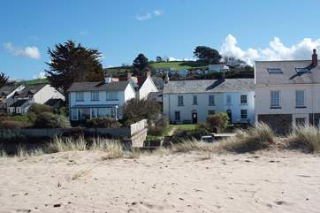 2 Bar View is the second cottage from the right, taken from the sand dunes.