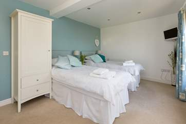 The master bedroom can be made up as twin beds or as a super-king size double bed on request.
