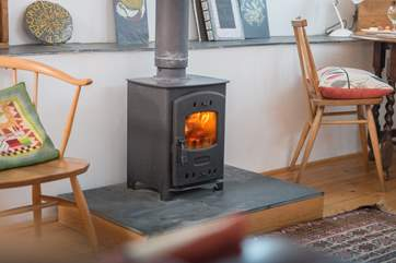 This little wood-burner will keep you snug and cosy.