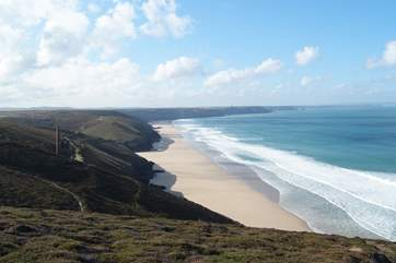 Fabulous coastal walks within easy reach of the cottage; this is looking from the cliffs nearby towards Chapel Porth.