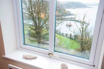 The view down to the harbour from Bedroom 2 (even on a wet winter day it's still enchanting!).