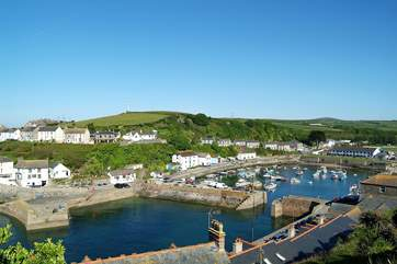 From up above the harbour, the lovely view back towards the village.