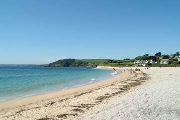 Gyllyngvase beach in nearby Falmouth has a lovely cafe/bistro and offers watersport tuition and hire.