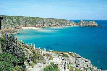 Porthcurno and the Minack Theatre approximately three miles away.