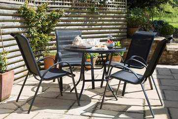 The patio is great for breakfast but actually has sun right through the day.