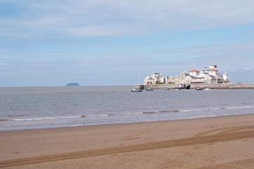 The pier and long sandy beach at Weston-super-Mare.