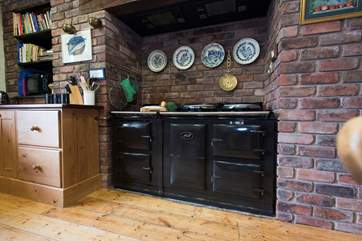A double oven Aga will keep the kitchen cosy and warm whilst you prepare a family meal.