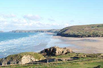 The huge beach and renowned surfing waves at Perranporth on the north coast, only 10 miles away.