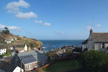 The view across the village to the beach from Bedroom 2.
