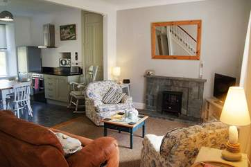 The light, comfortable open plan living-room.