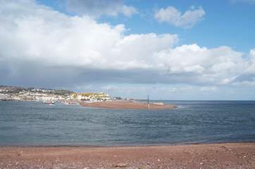 Teignmouth is on the far side of the estuary.
