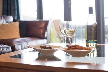 Enjoy your wine and nibbles while admiring the view.
