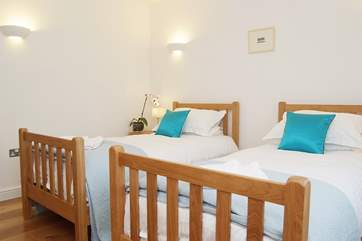 The twin bedrooms are light and bright.