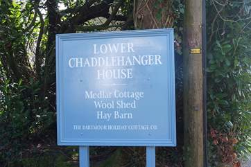 The large sign welcoming guests to Lower Chaddlehanger.