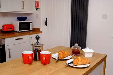 Warm croissants and a steaming jug of coffee - a great way to start the day.
