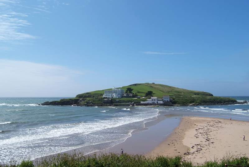 Spring Tide is found in Bigbury-on-Sea up above the beach and Burgh Island.