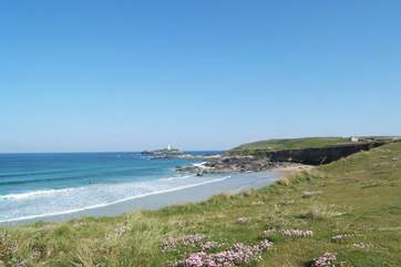 Miles of golden sands stretch from Godrevy Point (in photograph) right round to St Ives.