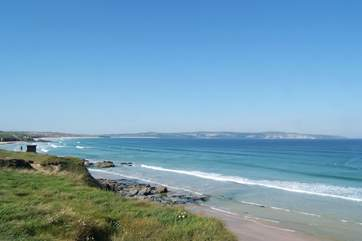 The view across towards St Ives from the coastal path at Godrevy.