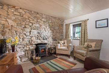 The sitting-room's little wood-burner is amazingly efficient, perfect for those cooler evenings.