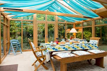 The large conservatory is a lovely room to enjoy.