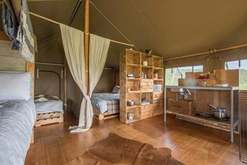Woody's kitchen-area with everything you will need for your glamping holiday.