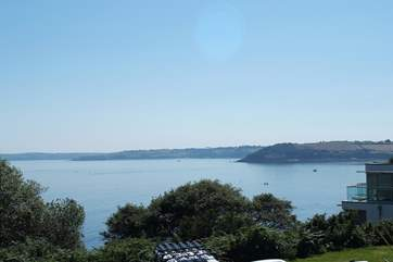 Looking west over Falmouth Bay towards the Lizard peninsula in the distance.