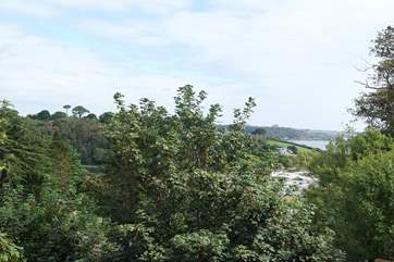 You can see Swanpool beach and the sea through the trees from the Juliet balcony in Bedroom 2.
