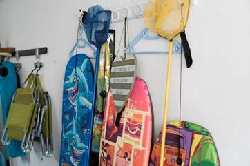 Plenty of beach equipment is available for use.