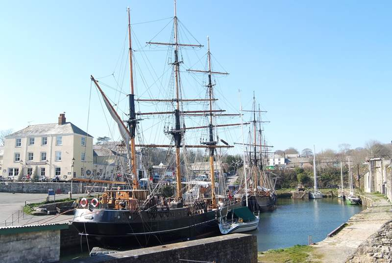 Some of the tall ships moored in Charlestown harbour, a ten minute walk from Tredhowr.