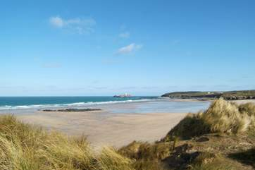 Looking across the huge beach towards Godrevy Lighthouse from the dunes at Gwithian Towans, not far from Hayle.